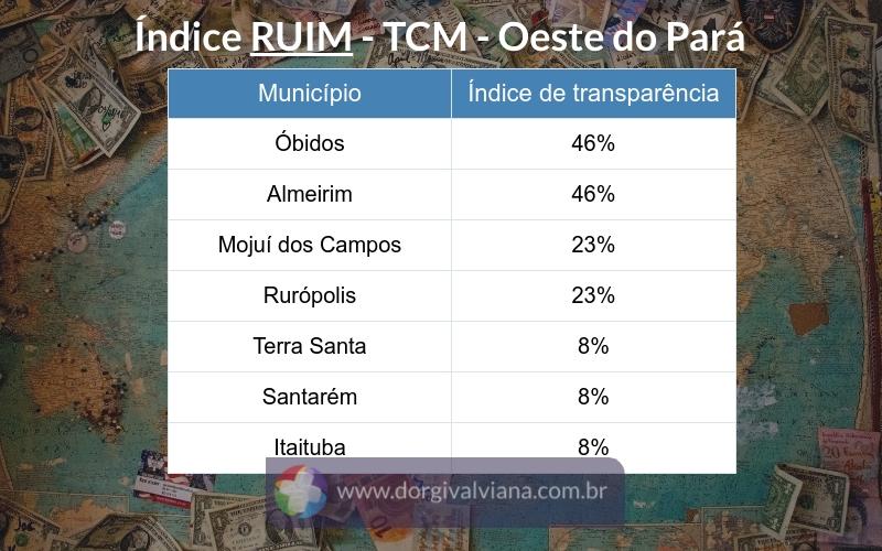 Santarém e Itaituba são os piores em transparência dos gastos com COVID-19 do Oeste do Pará, segundo TCM